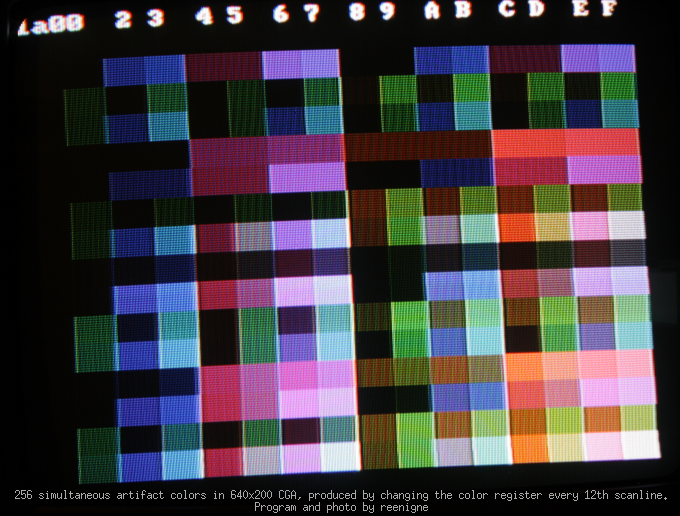 CGA 256 colors chart.com