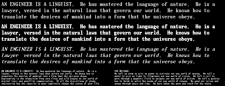 Olympiad IBM prototype fonts sample image