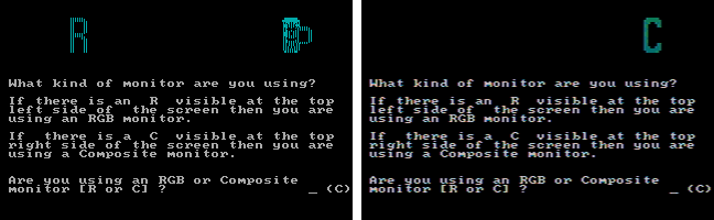 BurgerTime screen setup: RGB (left), composite (right)