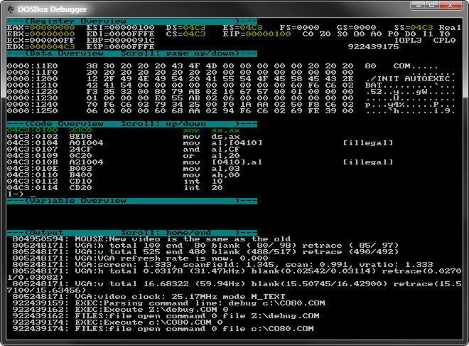The DOSBox Debugger ('late' Tandy 1000 8x9 font)