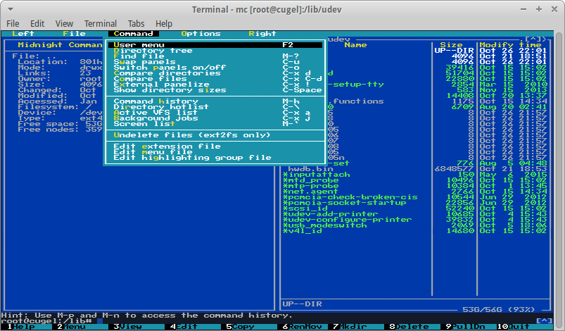 Midnight Commander on Linux (Phoenix BIOS v2.xx font)