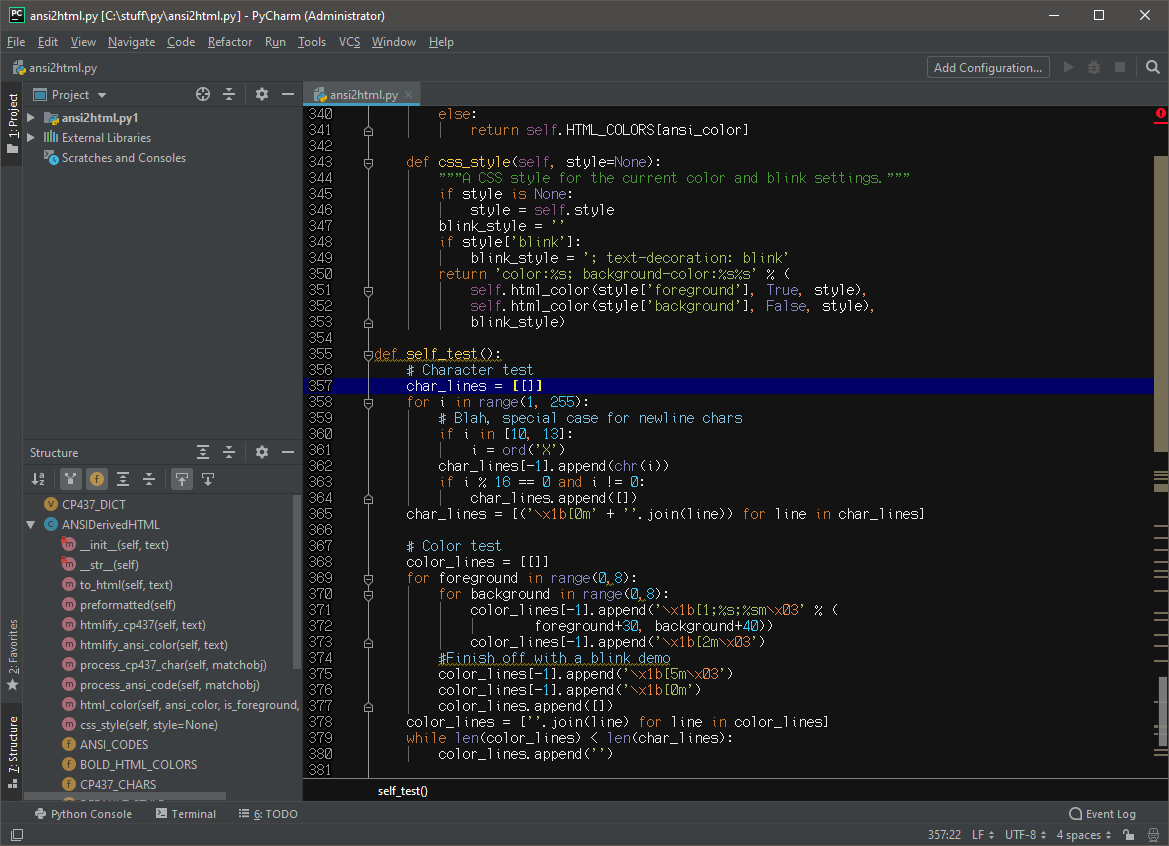 PyCharm IDE using the NEC APC III (8x16) font