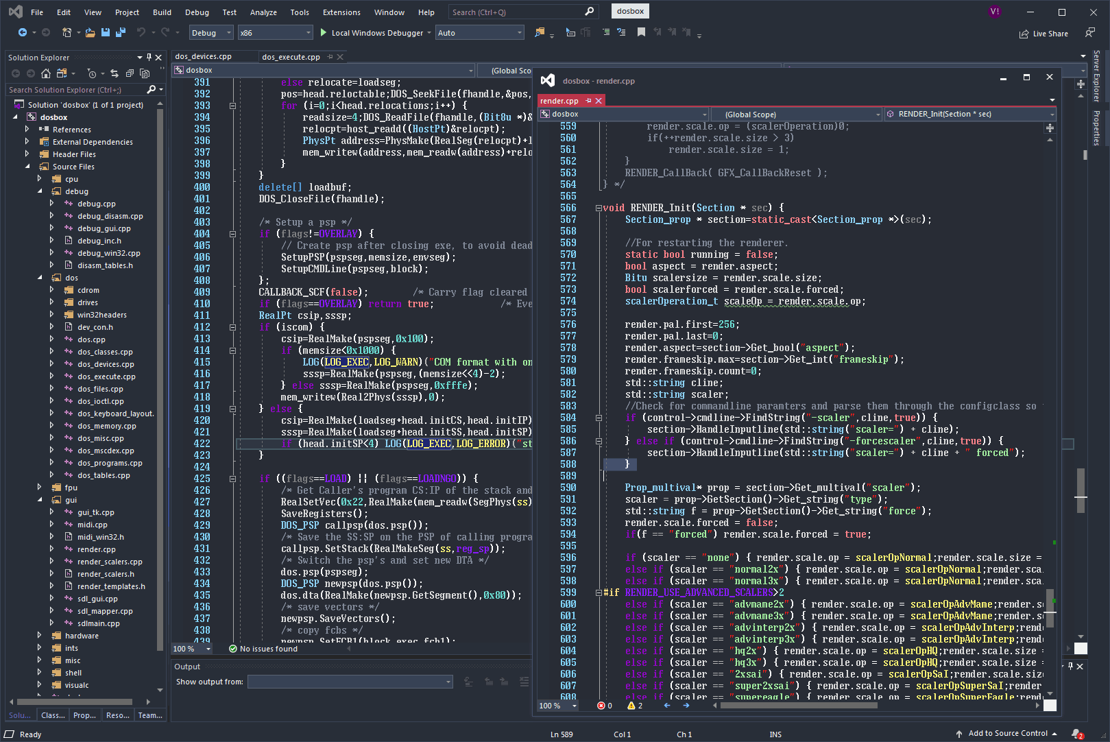 Visual Studio 2019 CE, using the ToshibaTxL1 8x16 font